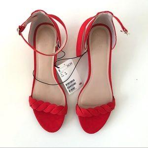 H&M suede low block heels